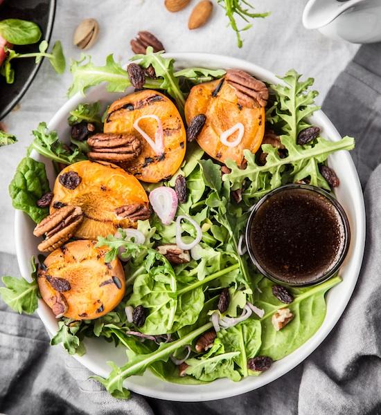 Peaches, Grilled, Salad, Vegan, Food