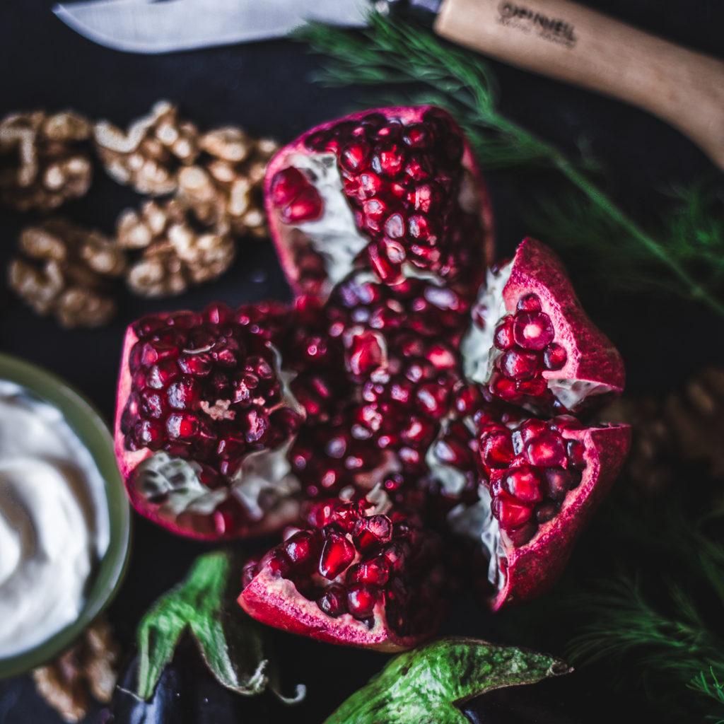 Eggplant Rolls with Walnut & Pomegranate Stuffing