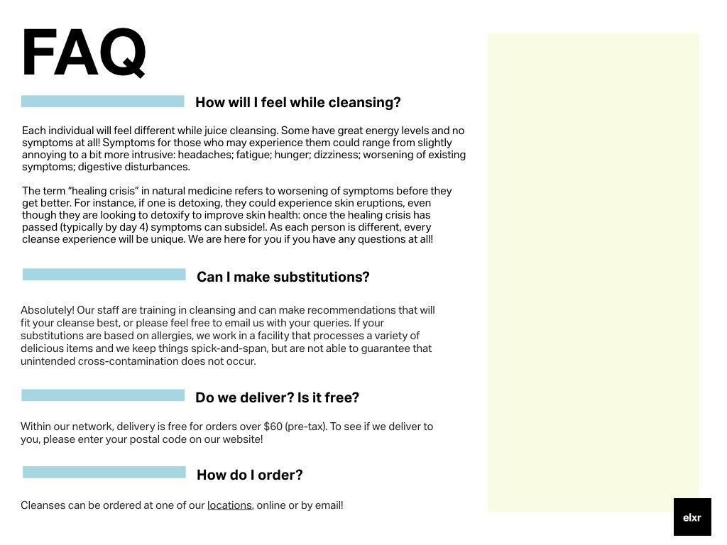 FAQ Elxr juice lab