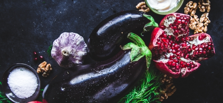 Eggplant Rolls with Walnut & Pomegranate Stuffing